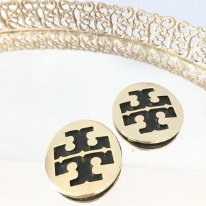 Tory Burch two emblems from black leather flats